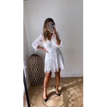 Vestido mini de encaje manga al codo blanco